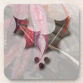 Diamant verziertes Blatt; Frohe Weihnachten Getränke Untersetzer