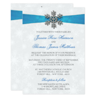 Diamante Schneeflocke u. blaues 12,7 X 17,8 Cm Einladungskarte