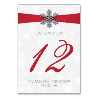 Diamante Schneeflocke u. rote Band-Winter-Hochzeit Karte