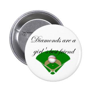 Diamanten sind T - Shirts der beste Freund eines M Runder Button 5,1 Cm
