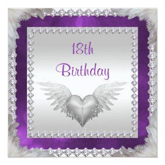 Diamanten u. Feder-18. Geburtstag Quadratische 13,3 Cm Einladungskarte