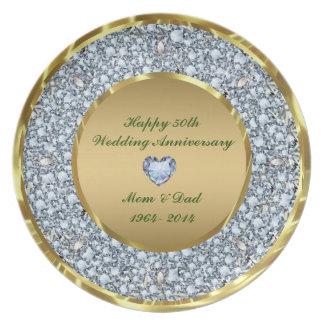 Diamanten u. Hochzeitstag des Gold50. Party Teller
