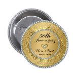 Diamanten u. Hochzeitstag des Gold50. Runder Button 5,1 Cm