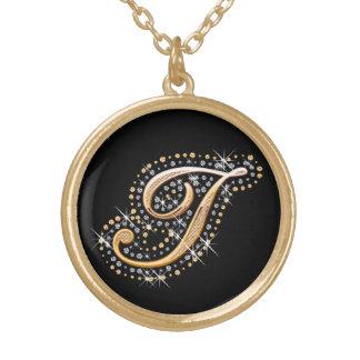 """Diamanten und goldene Initiale """"ich"""" Halskette"""