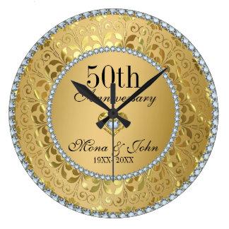 Diamanten und Hochzeitstag des Gold50. Wanduhren