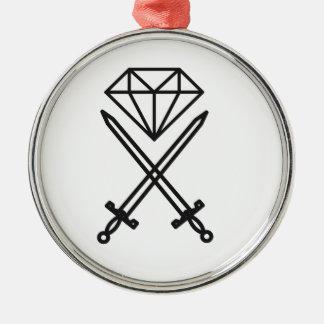 Diamantschnitt Silbernes Ornament