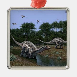 Dicraeosaurus-Szene Silbernes Ornament