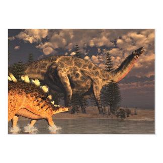 Dicraeosaurus- und Kentrosaurusdinosaurier - 3D 12,7 X 17,8 Cm Einladungskarte