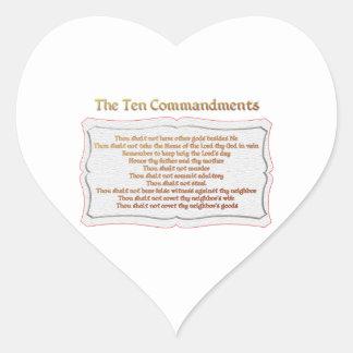 Die 10 Gebote Herz-Aufkleber