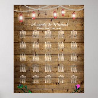 Die 25 Tabellen-rustikale Laterne beleuchtet Poster