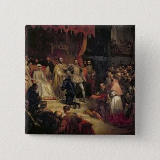Die Abdankung von Charles V 1841 Quadratischer Button 5,1 Cm