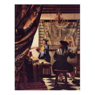 Die Allegorie der Malerei von Johannes Vermeer Postkarte