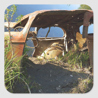 Die alten Autos von Eklutna Tailrace Quadratischer Aufkleber