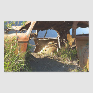 Die alten Autos von Eklutna Tailrace Rechteckiger Aufkleber