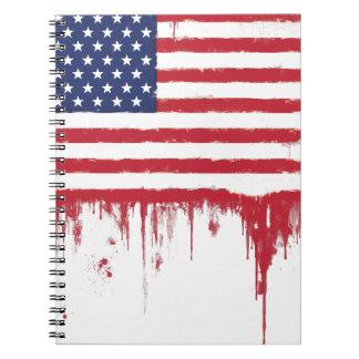 Die amerikanische Vintage Flagge spritzt Spiral Notizblock