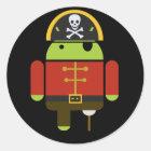 Die androiden Piraten-Aufkleber Runder Aufkleber