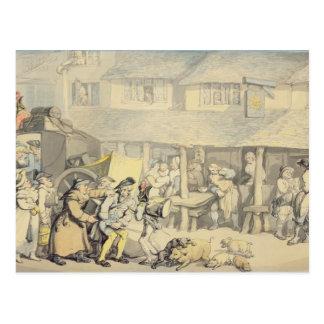 Die Ankunft des Bühne-Zuges am Sun-Gasthaus, Postkarte