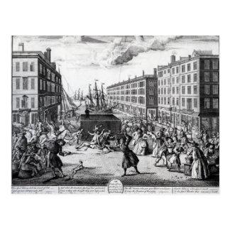 Die Ansicht und die Humore von Billingsgate, 1736 Postkarte