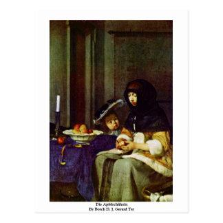 Die Apfelschälerin durch Borch D.J. Gerard Ter Postkarte