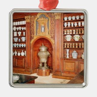 Die Apotheke des Heilig-Jean Krankenhauses Quadratisches Silberfarbenes Ornament
