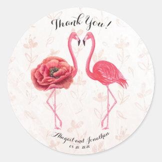 Die Aquarell-rosa Flamingos, die Paare Wedding Runder Aufkleber