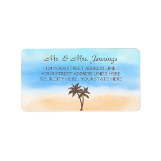 Die Aquarell-Strand-Hochzeits-Sammlung Adressetiketten
