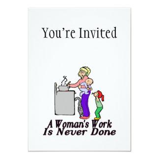 Die Arbeit der Frau wird nie erledigt 12,7 X 17,8 Cm Einladungskarte