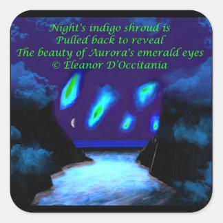 Die Augen-Poesie-Quadrat-Aufkleber der Aurora, Quadratischer Aufkleber