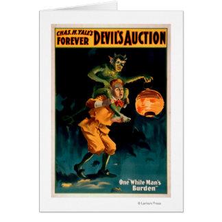 Die Auktions-weißen des Mannes des Teufels die Karte