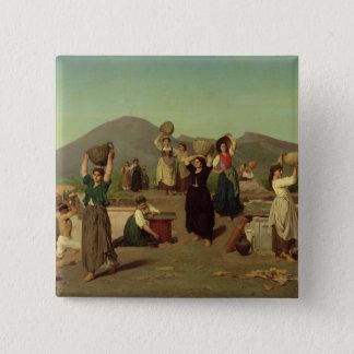 Die Aushöhlungen in Pompeji, 1865 Quadratischer Button 5,1 Cm