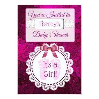 Die Babyparty-Einladung des magentaroten Karte