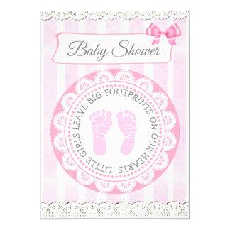 Die Babyparty-Einladung des rosa Abdruck-Mädchens Karte