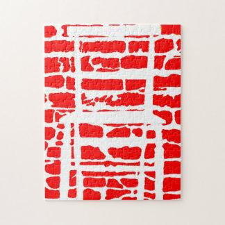 Die Backstein-Wand mit weißer Stuhl-Laubsäge Puzzle