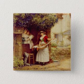 Die Ballade Seller, 1902 (Öl an Bord) Quadratischer Button 5,1 Cm