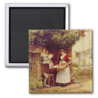 Die Ballade Seller, 1902 (Öl an Bord) Quadratischer Magnet