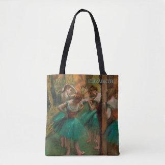Die Ballett-Tänzer, rosa u. grünen   Edgar Degas Tasche