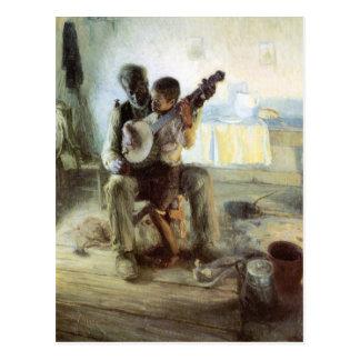 Die Banjo-Lektion Postkarte
