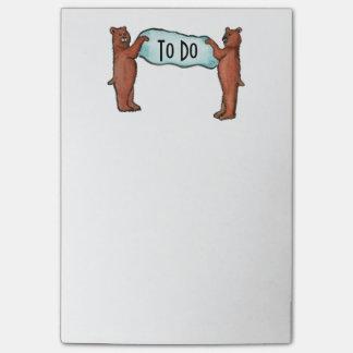 die Bären, ZUM der Liste ZU TUN Post-it Klebezettel