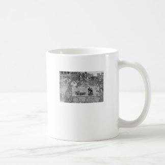 Die Bauern zeigen ihnen den Fehler ihrer Weisen Kaffeetasse