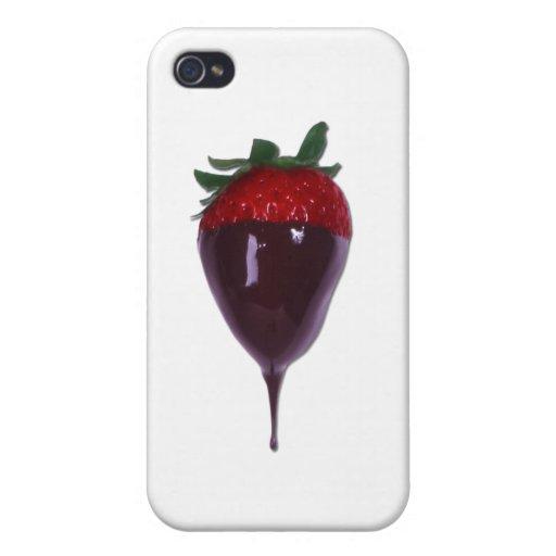Die bedeckte Schokolade tauchte Erdbeere ein iPhone 4 Schutzhüllen