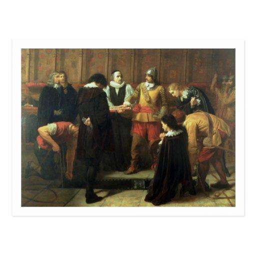 Die Beerdigung von Charles I (1600-49) in St Georg Postkarte
