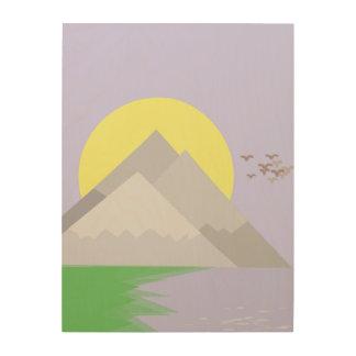 Die Berge und der See, mit Bäumen Holzwanddeko