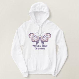 Die beste Großmutter der Schmetterlings-Welt Bestickter Hoodie
