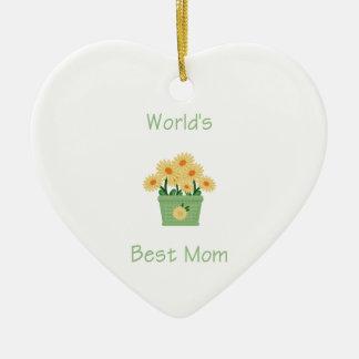 Die beste Mamma der Welt (gelbe Blumen) Keramik Ornament