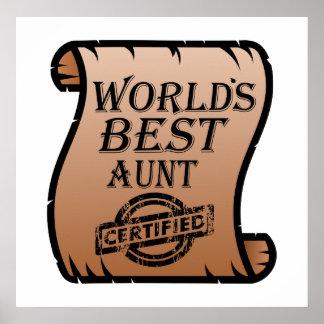 Die beste Tante Certified Certificate Funny der Poster