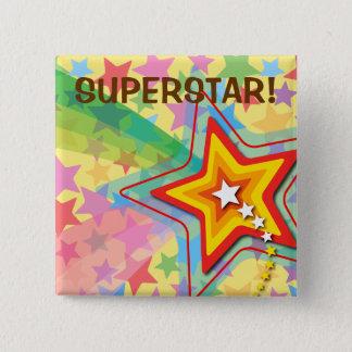 Die Bevorzugungs-Knopf Superstar-Regenbogen-des Quadratischer Button 5,1 Cm