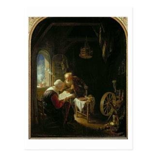 Die Bibel-Lektion oder Anne und Tobias (Öl auf Postkarte