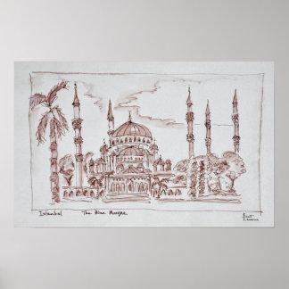 Die blaue Moschee | Istanbul, die Türkei Poster