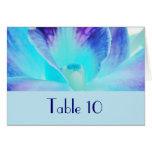 Die blaue Orchideen-Hochzeits-Tabellen-Karte