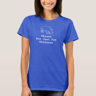 Die blauen Rhinos der Frauen sind gerade fette T-Shirt